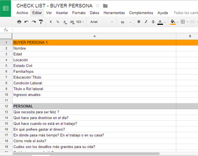 BUYER PERSONA CHECK LIST