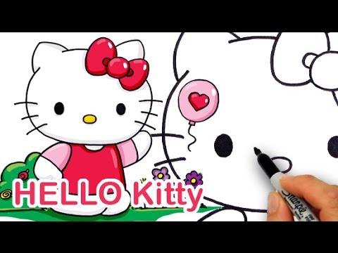 Berikut Gambar Sketsa Hitam Putih Mewarnai Hello Kitty Auto