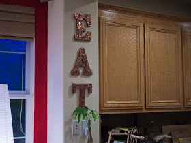 Sprinkled With Color Penny Letters For The Kitchen An upcycled project from here sons old nursery