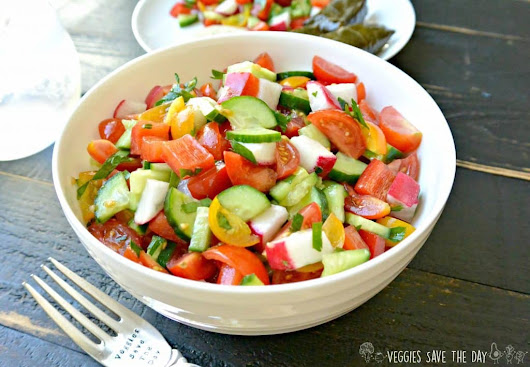 Mediterranean Cucumber and Tomato Salad - Veggies Save The Day