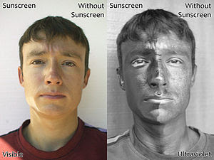 English: Two photographs of a man wearing suns...