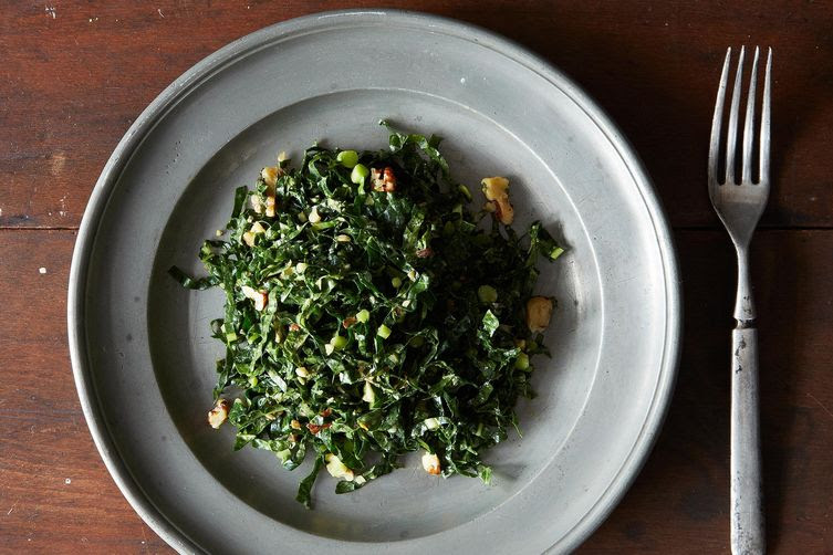 Lacinato Kale and Mint Salad with Spicy Peanut Dressing