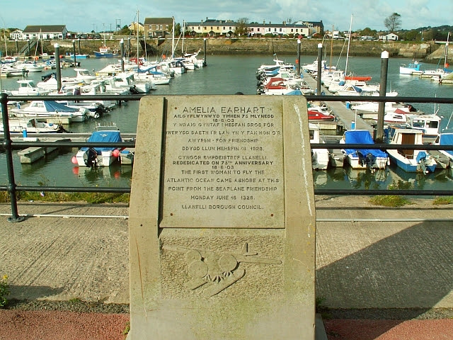 File:Amelia Earhart memorial, Burry Port harbour - geograph.org.uk - 1025606.jpg