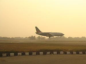 An Alliance Air aircraft landing in New Delhi
