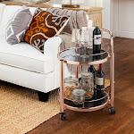 Silver Orchid O'Fredericks 2-Tier Rose Gold Mobile Serving Cart