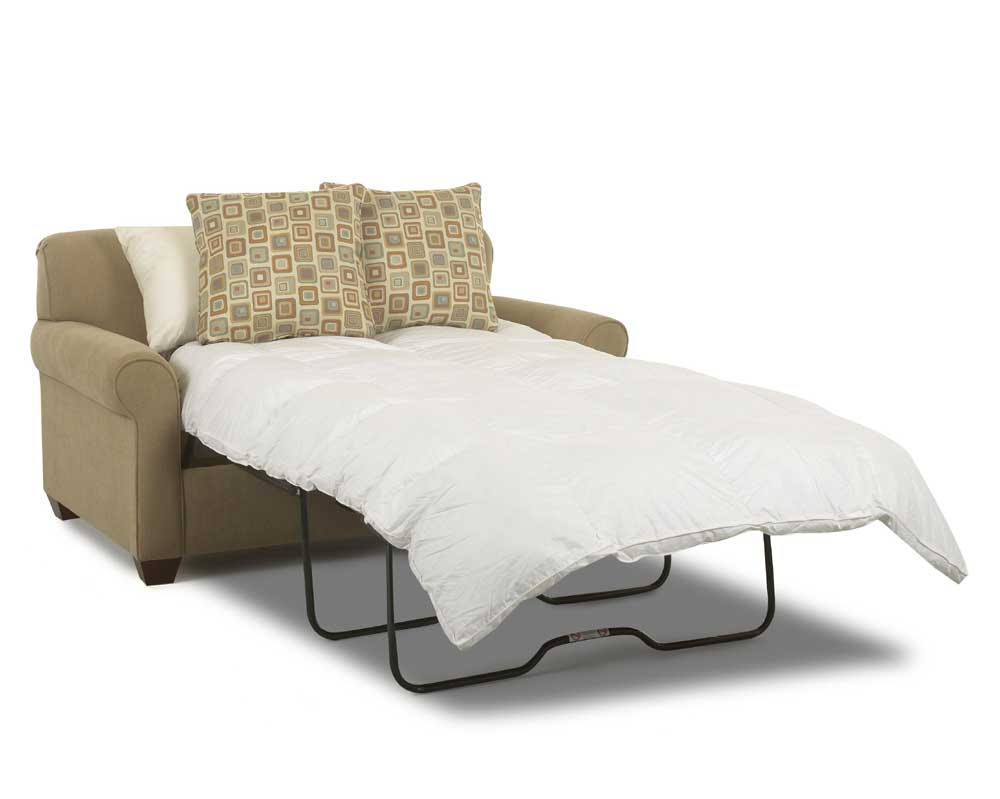 love seat sleeper sofas in brown with two cushions and comfy bedding