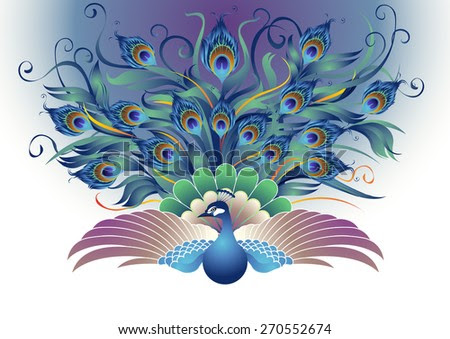Peacock, A Modified Form Of Peacocks That Were Flapping Both Wings And Tail Dangling All Directions Into The Decorative Style That Looks More Attractive. Stock Vector Illustration 270552674 : Shutterstock