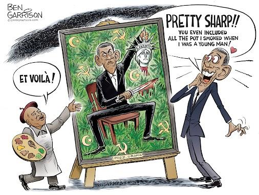B. Hussein Obama taking a potty squatty in his pot farm. - Obama's Presidential Portrait - Grrr...