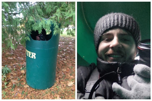 Engagement Photographer Hides in Small Trashcan to Get the Perfect Candid Shot
