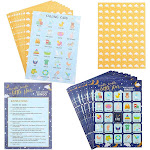 36-Piece Twinkle Little Star Baby Shower Bingo Game with Stickers for Boys or Girls, 5 x 7 Inches