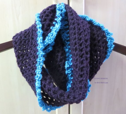 Crochet infinity scarf purple turquoise trim neckwarmer by Bachigs