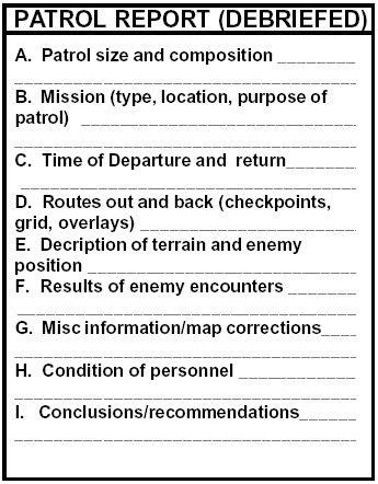 PATROL / RECON - Patrol report (Debriefed) (ArmyStudyGuide