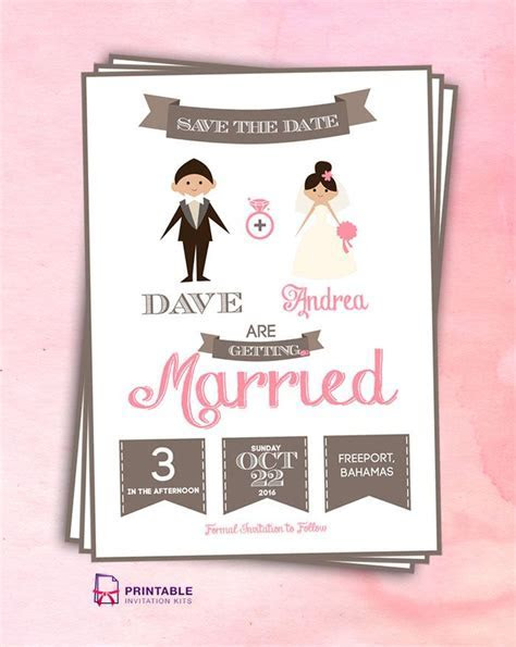 FREE PDF Save the Date Cartoon Couple. For customizations