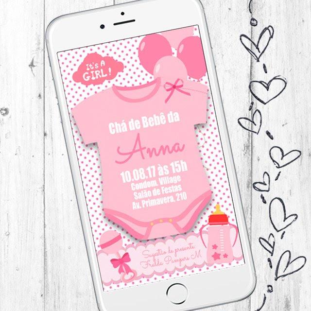 Convite Digital Para Chá De Bebê Menina