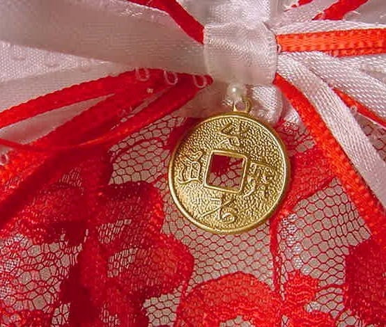 Chinese Red Wedding Garter satin and lace