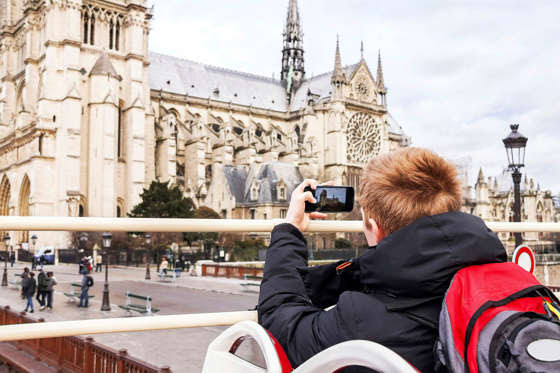 Boy taking photo.
