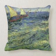 Seascape at Saintes-Maries by Vincent van Gogh throwpillow