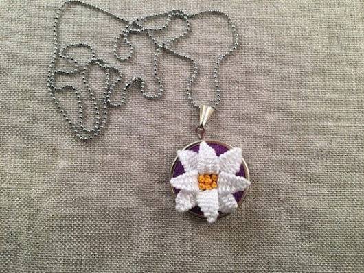 Hand Embroidered Hoop Necklace Embroidered Flower by MooshieStitch