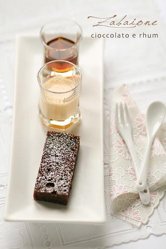 Zabaione, torta al cioccolato e rhum