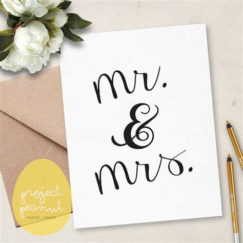 Printable Congratulations Mr & Mrs Wedding Card [Instant