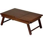 Winsome Alden Flip-Top Folding Lap Desk with Drawer, Walnut
