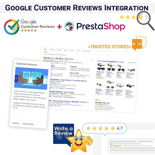 Intégration des Google Customer Reviews pour Prestashop 1.7 / 1.6
