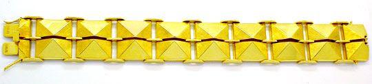 Foto 2, Seltenes Designer-Pyramiden-Gelbgold-Armband Luxus! Neu, K2961