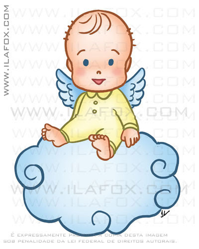 caricatura fofinha, bebê, anjo, by ila fox