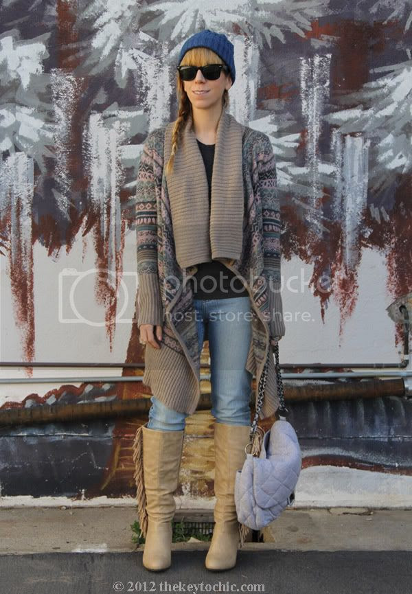 Kensie waterfall cardigan, Cheap Monday jeans, fringe wedge boots, Los Angeles fashion blog, southern California fashion blog