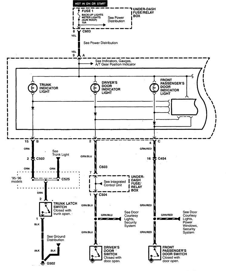 Acura TL (1998) - wiring diagrams - indicator lamp ...