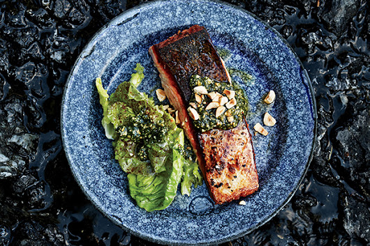 Butter-Basted Salmon with Hazelnut Relish