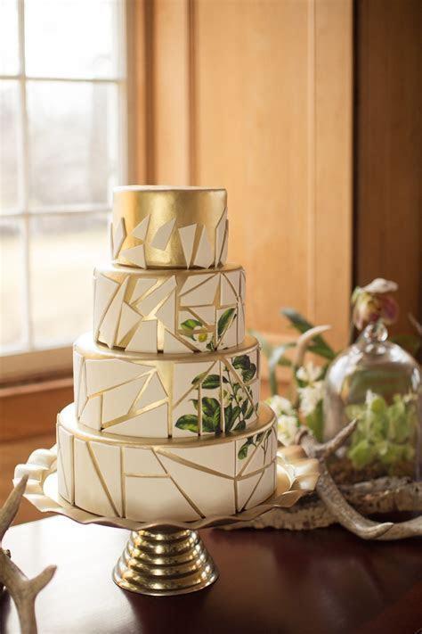 Modern Vintage Green & White Wedding Cake   Chic Vintage