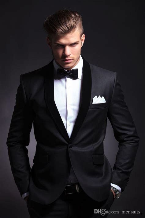 2016 Best Selling Black Mens Wedding Suits Custom Made