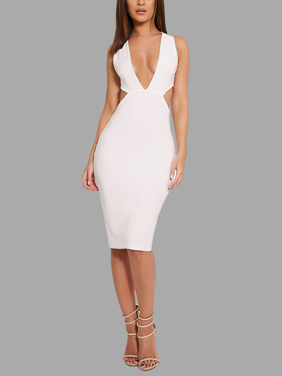 Plunge V-neck Cross Strap Sleeveless Midi Dress in White