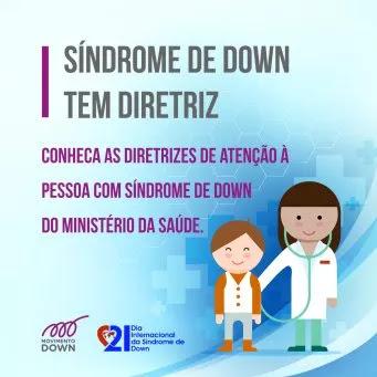 Ilustracao de medica com menino e os dizeres - sindrome de down tem diretriz - conheca as diretrizes de atencao a pessoa com sindrome de down do ministerio da saude.