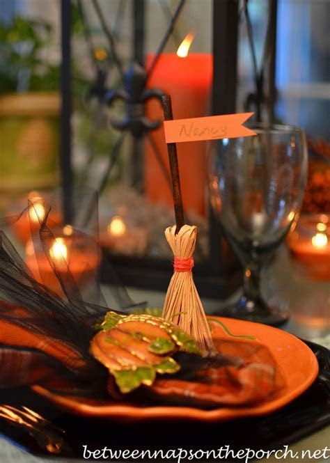 Broomstick Place Card Holders for Your Halloween Tablescape