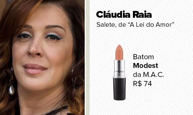 O batom nude, usado pela personagem Salete (Cláudia Raia), é o Modest da linha Mineralize Glass da M.A.C.. (Foto: Sandy Bahia/EGO)