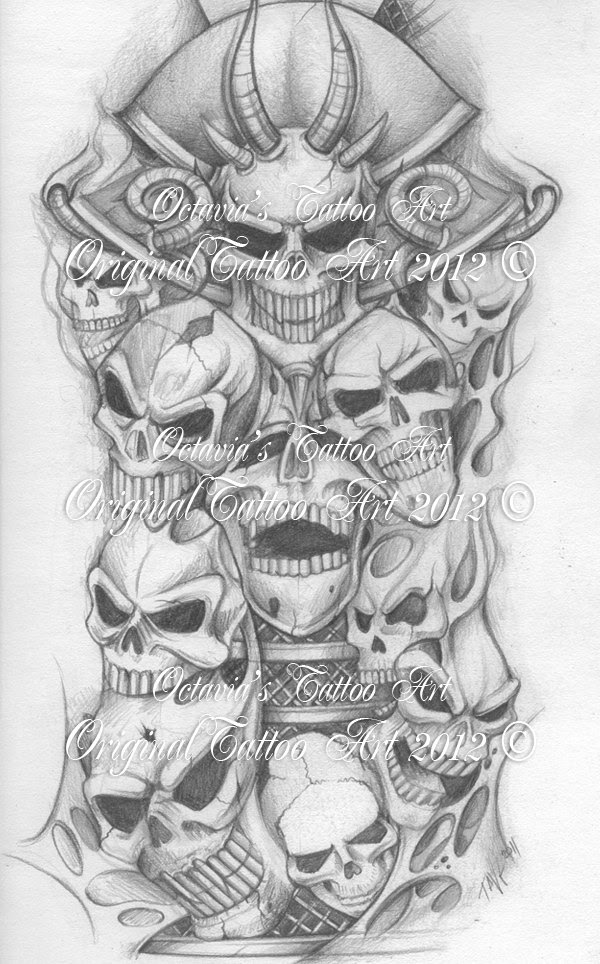 Attractive Grey Skull Tattoos Designs
