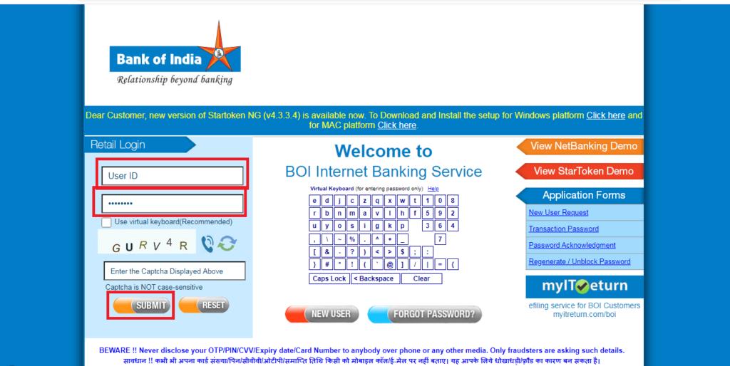 BOI नेट बैंकिंग लॉगिन