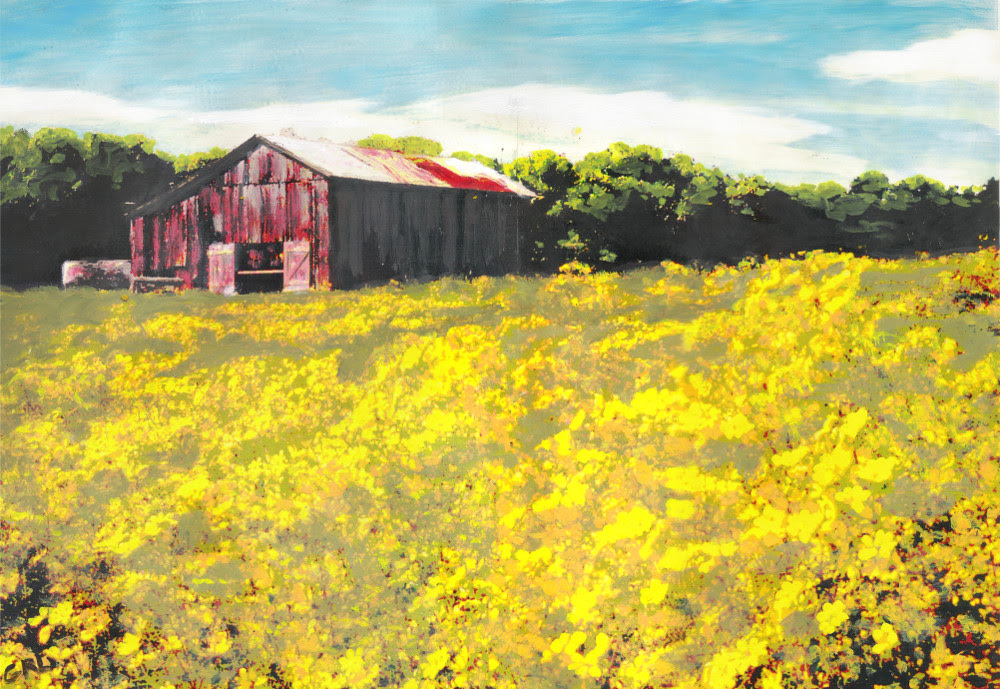 Barn Yellow Spring Fields Maryland, near Frederick, Landscape Fine Art. Order art, decorate, decor, original, paintings.