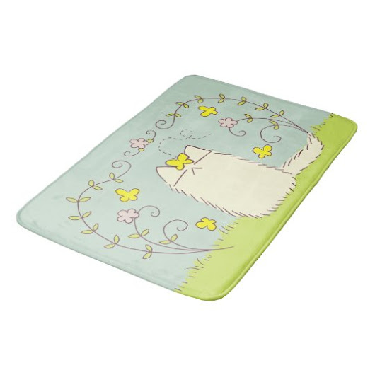 Fluffy Cat and Yellow Butterfly Bathroom Mat