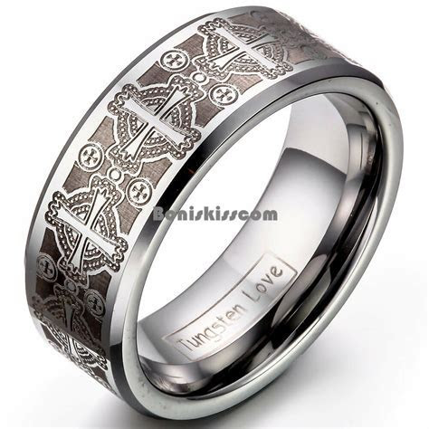 8mm Men's Tungsten Carbide Ring Comfort Fit Laser Celtic