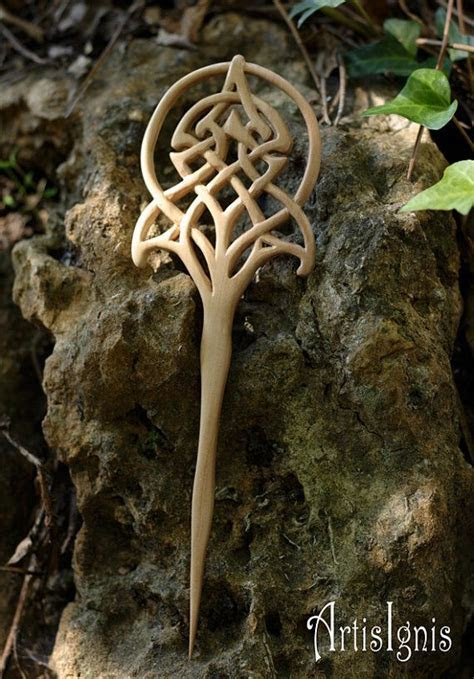 Art Nouveau Celtic Tree of Life Hair Fork, Handmade Loquat