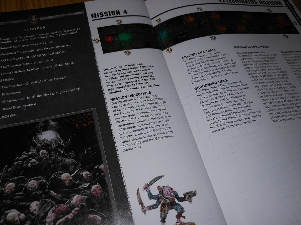 Double-page spread from the Deathwatch: Overkill rulebook, detailing mission 4 map and objectives.