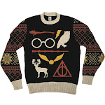 Harry Potter Owl Deathly Hallows Sign Black Ugly Christmas Sweater