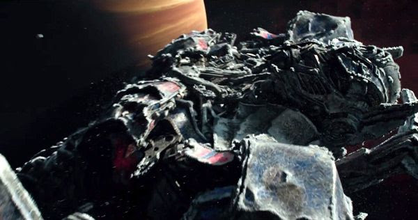 The frozen body of Optimus Prime floats across deep space in TRANSFORMERS: THE LAST KNIGHT.