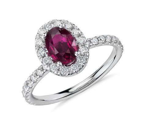 Oval Ruby and Diamond Ring in 18k White Gold   Tanary Jewelry