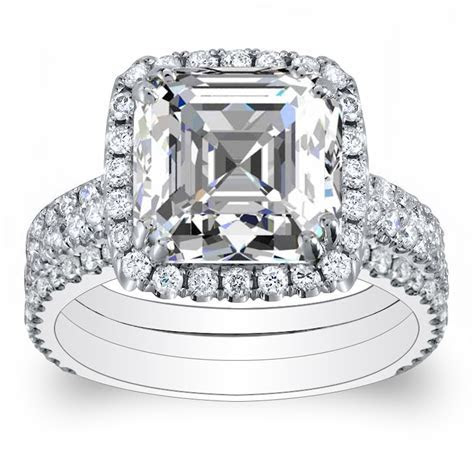 3 Shank Pave Halo Natural Diamonds Engagement Ring