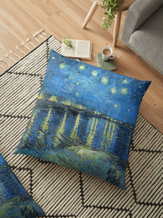 'Starry Night Over the Rhone' Floor Pillow by Igor Drondin