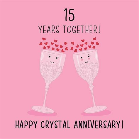 15th Wedding Anniversary Card   Crystal Anniversary